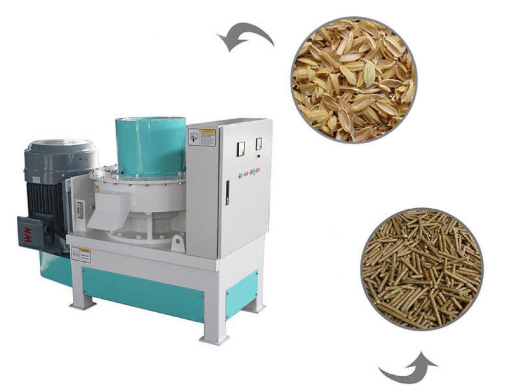 Сделает гранулы  топлива из рисовой шелухи